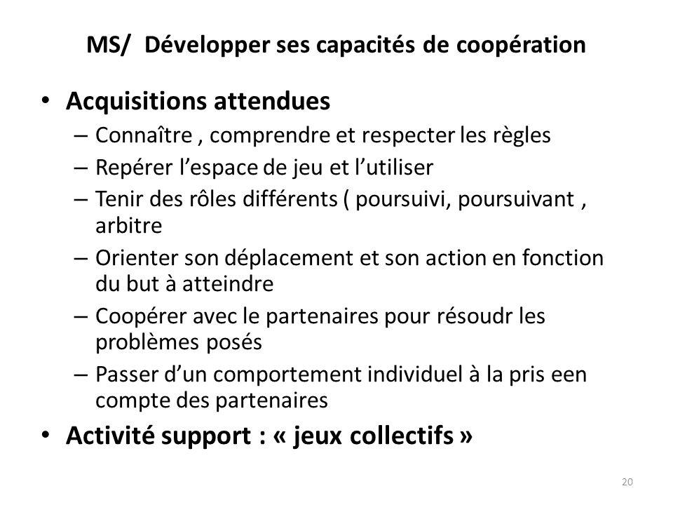 MS/ Développer ses capacités de coopération