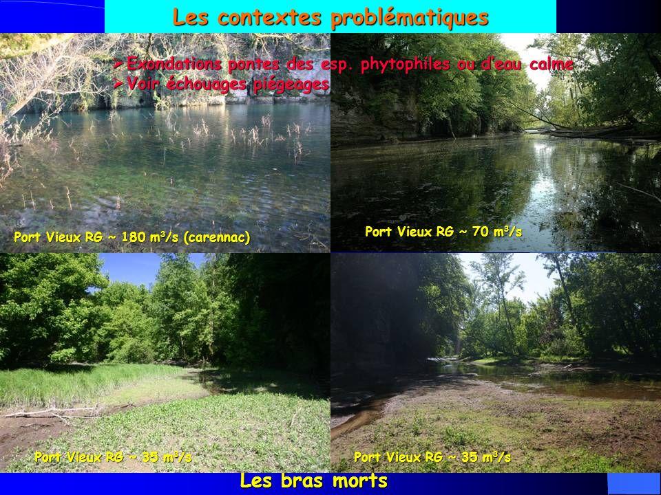 Les contextes problématiques Port Vieux RG ~ 180 m3/s (carennac)