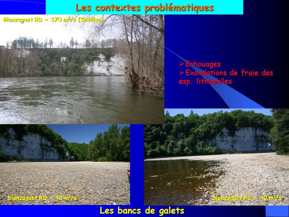 Les contextes problématiques Blanzaguet RD ~ 370 m3/s (Souillac)