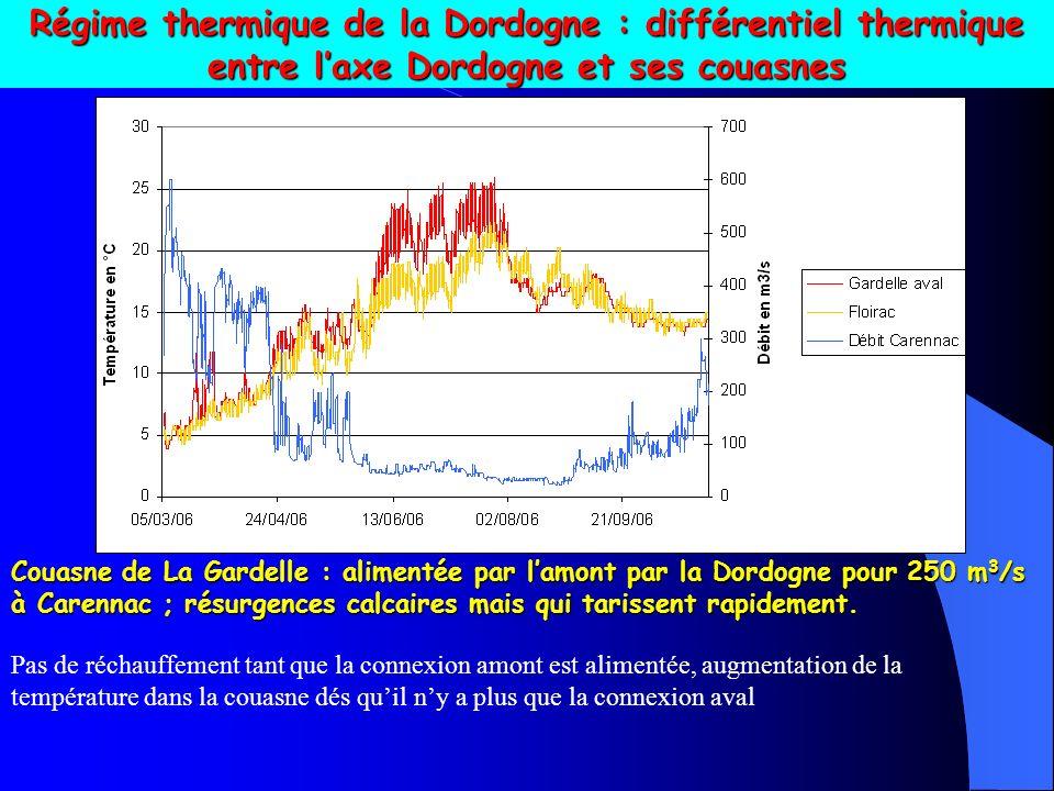 Régime thermique de la Dordogne : différentiel thermique entre l'axe Dordogne et ses couasnes