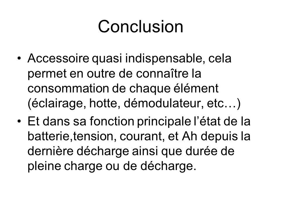 Conclusion Accessoire quasi indispensable, cela permet en outre de connaître la consommation de chaque élément (éclairage, hotte, démodulateur, etc…)