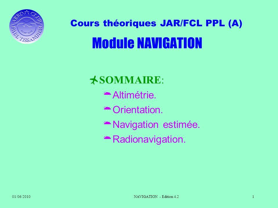 Module NAVIGATION SOMMAIRE: Altimétrie. Orientation.