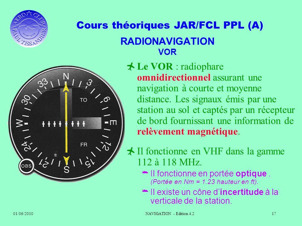 Il fonctionne en VHF dans la gamme 112 à 118 MHz.