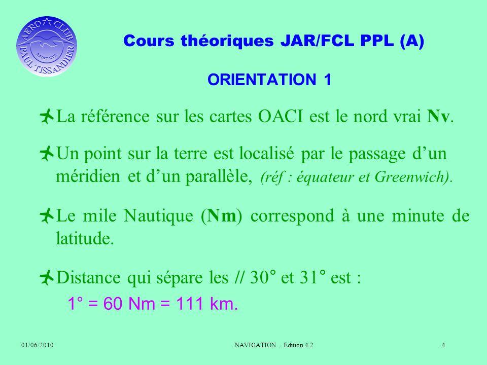 La référence sur les cartes OACI est le nord vrai Nv.