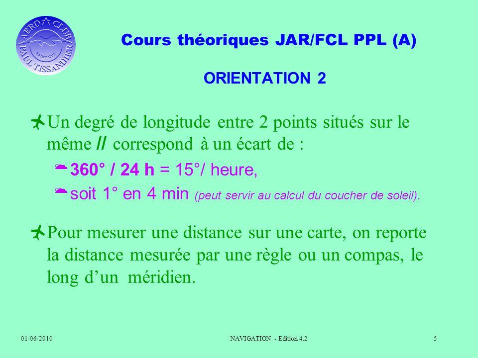 ORIENTATION 2 Un degré de longitude entre 2 points situés sur le même // correspond à un écart de :