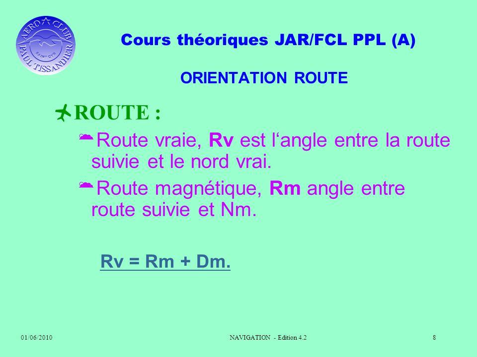 ORIENTATION ROUTE ROUTE : Route vraie, Rv est l'angle entre la route suivie et le nord vrai. Route magnétique, Rm angle entre route suivie et Nm.