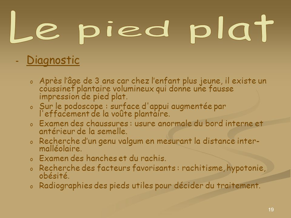 Le pied plat Diagnostic