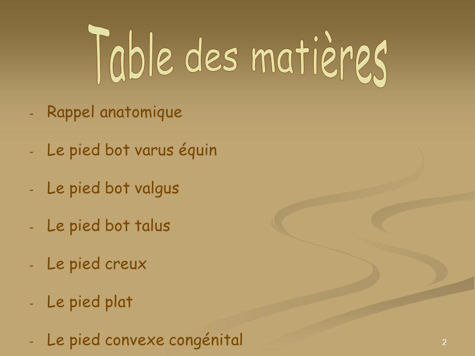 Table des matières Rappel anatomique Le pied bot varus équin