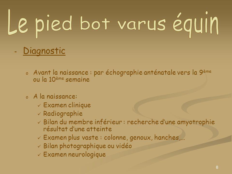 Le pied bot varus équin Diagnostic