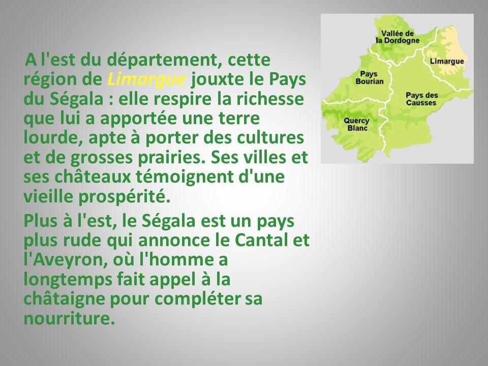 A l est du département, cette région de Limargue jouxte le Pays du Ségala : elle respire la richesse que lui a apportée une terre lourde, apte à porter des cultures et de grosses prairies. Ses villes et ses châteaux témoignent d une vieille prospérité.