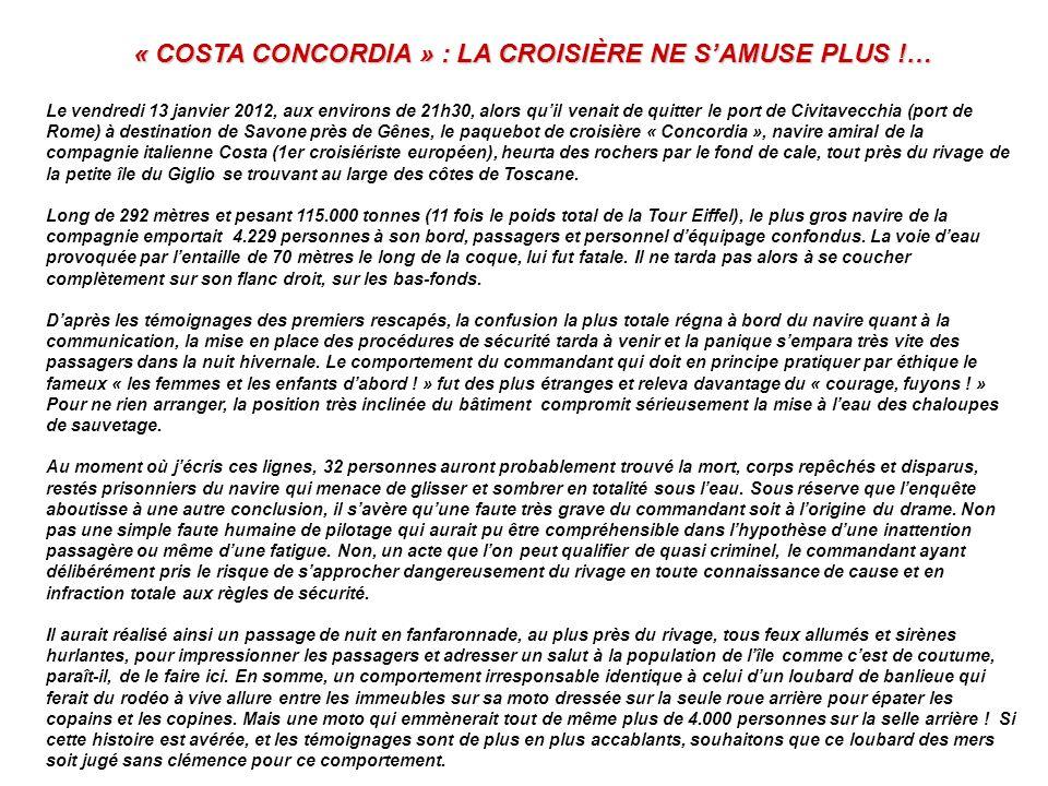 « COSTA CONCORDIA » : LA CROISIÈRE NE S'AMUSE PLUS !…