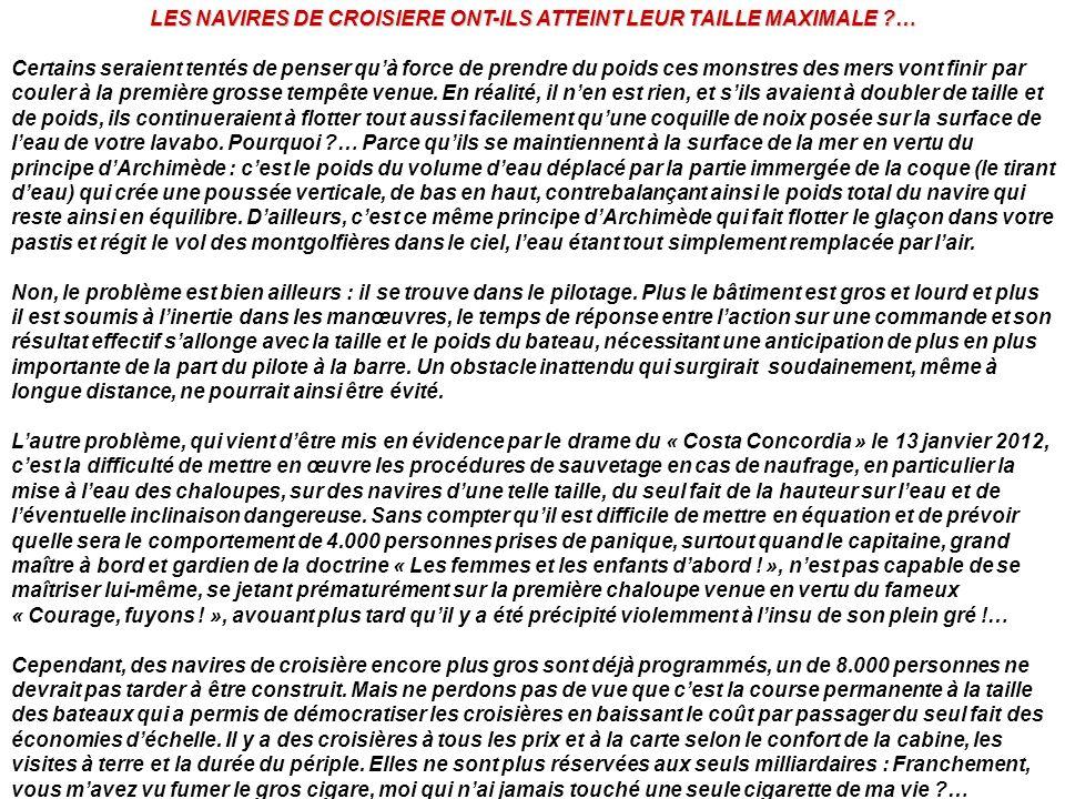LES NAVIRES DE CROISIERE ONT-ILS ATTEINT LEUR TAILLE MAXIMALE …