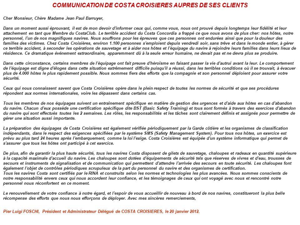 COMMUNICATION DE COSTA CROISIERES AUPRES DE SES CLIENTS