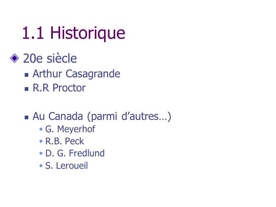 1.1 Historique 20e siècle Arthur Casagrande R.R Proctor