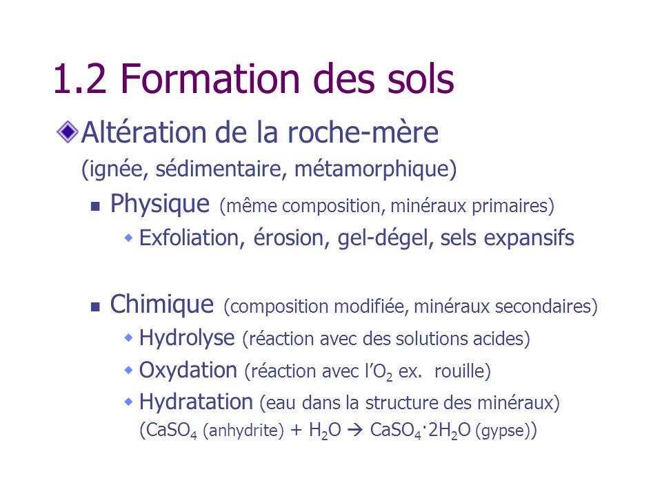 1.2 Formation des sols Altération de la roche-mère