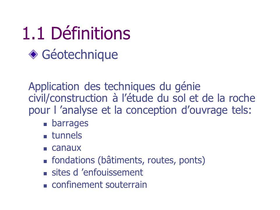 1.1 Définitions Géotechnique