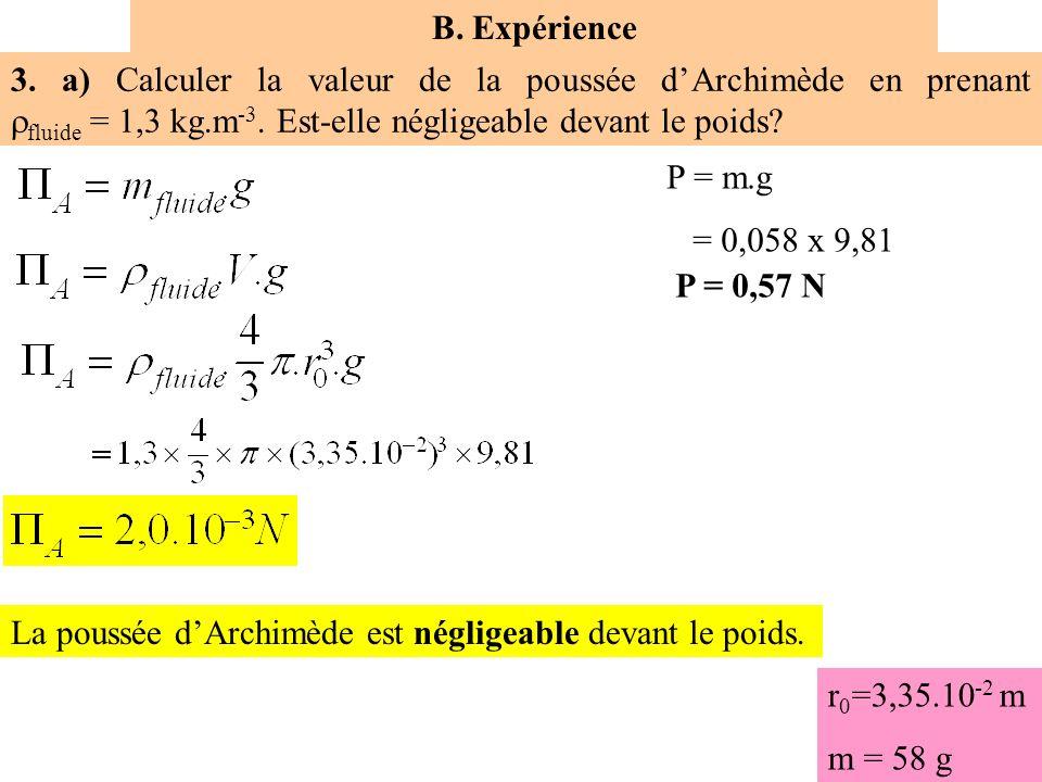 B. Expérience 3. a) Calculer la valeur de la poussée d'Archimède en prenant fluide = 1,3 kg.m-3. Est-elle négligeable devant le poids