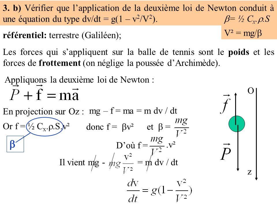 3. b) Vérifier que l'application de la deuxième loi de Newton conduit à une équation du type dv/dt = g(1 – v2/V2).