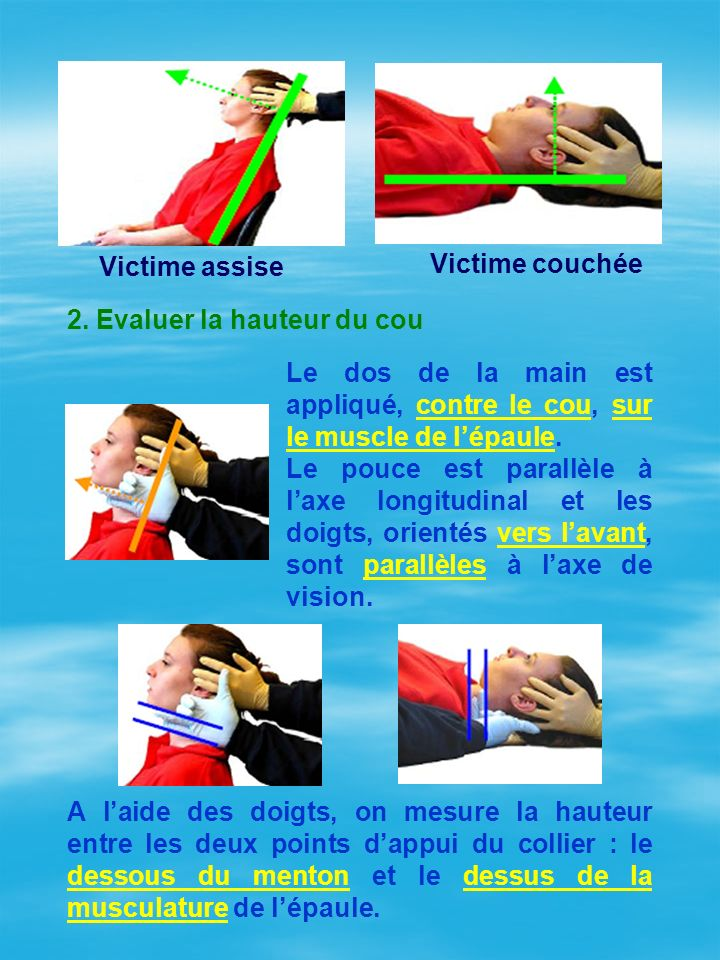 Victime assise Victime couchée. 2. Evaluer la hauteur du cou. Le dos de la main est appliqué, contre le cou, sur le muscle de l'épaule.