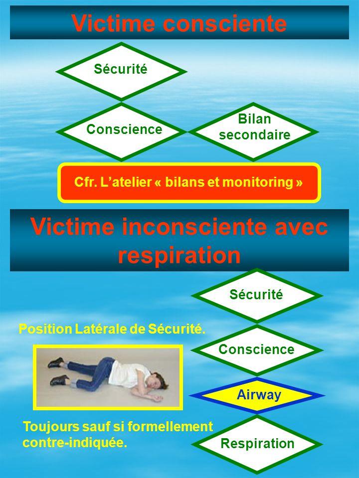 Victime consciente Victime inconsciente avec respiration