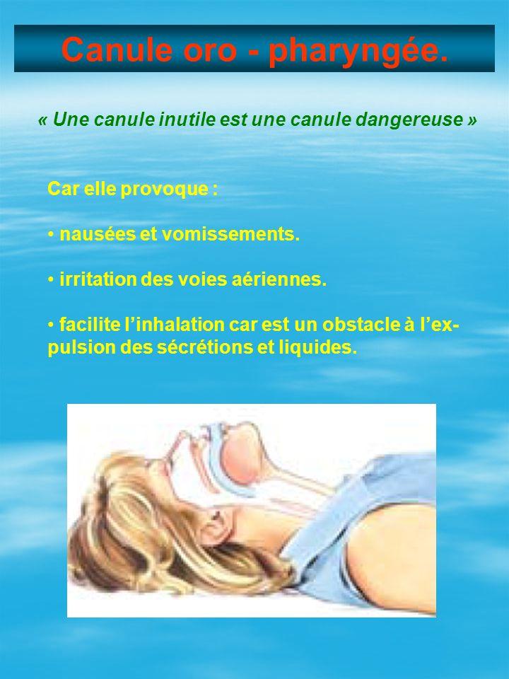 Canule oro - pharyngée. « Une canule inutile est une canule dangereuse » Car elle provoque : • nausées et vomissements.