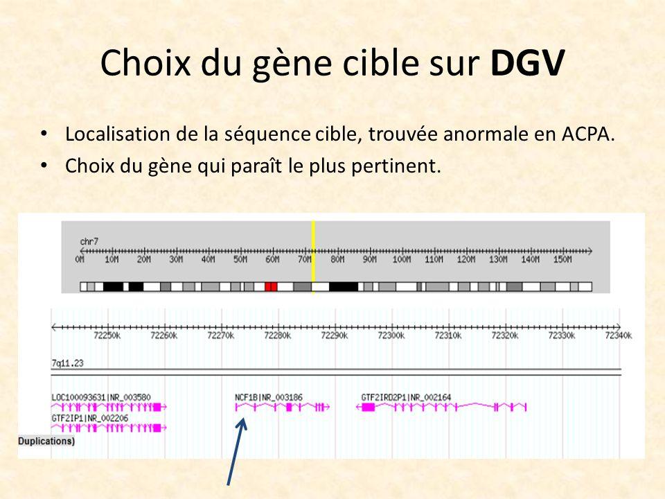 Choix du gène cible sur DGV
