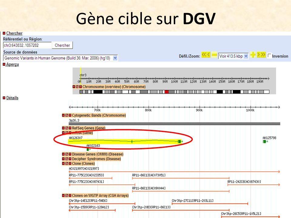 Gène cible sur DGV