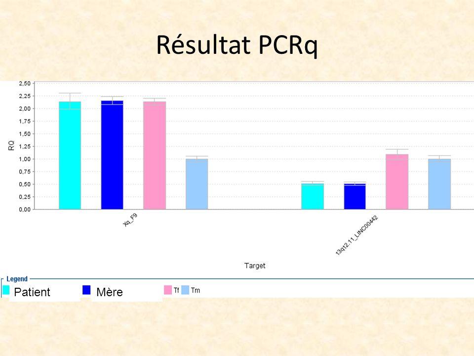 Résultat PCRq Patient Mère