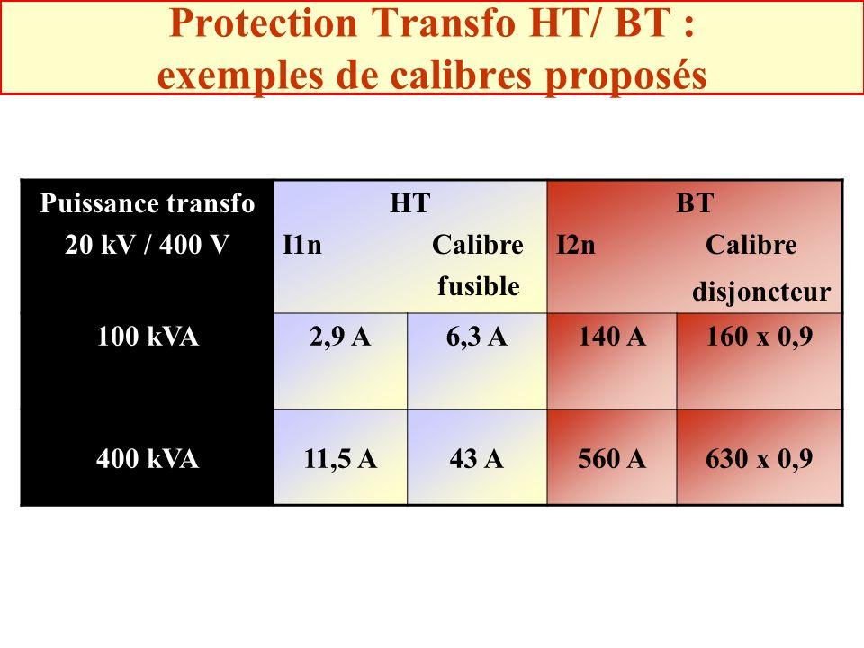 Protection Transfo HT/ BT : exemples de calibres proposés