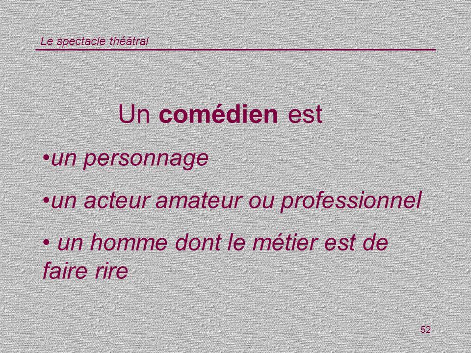 Un comédien est un personnage un acteur amateur ou professionnel