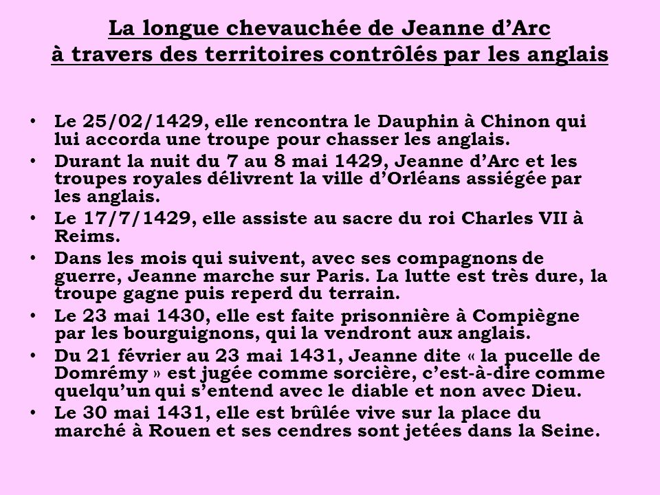 La longue chevauchée de Jeanne d'Arc à travers des territoires contrôlés par les anglais