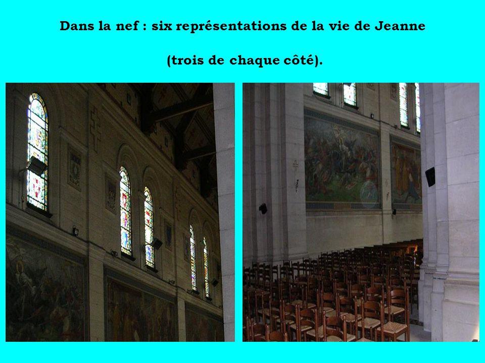 Dans la nef : six représentations de la vie de Jeanne (trois de chaque côté).