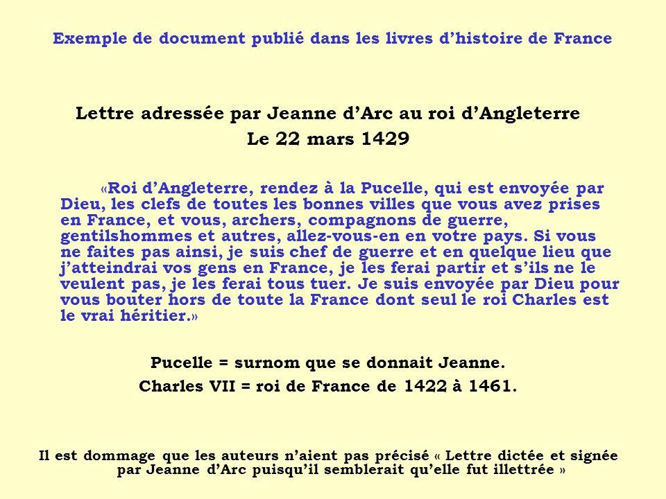 Lettre adressée par Jeanne d'Arc au roi d'Angleterre Le 22 mars 1429