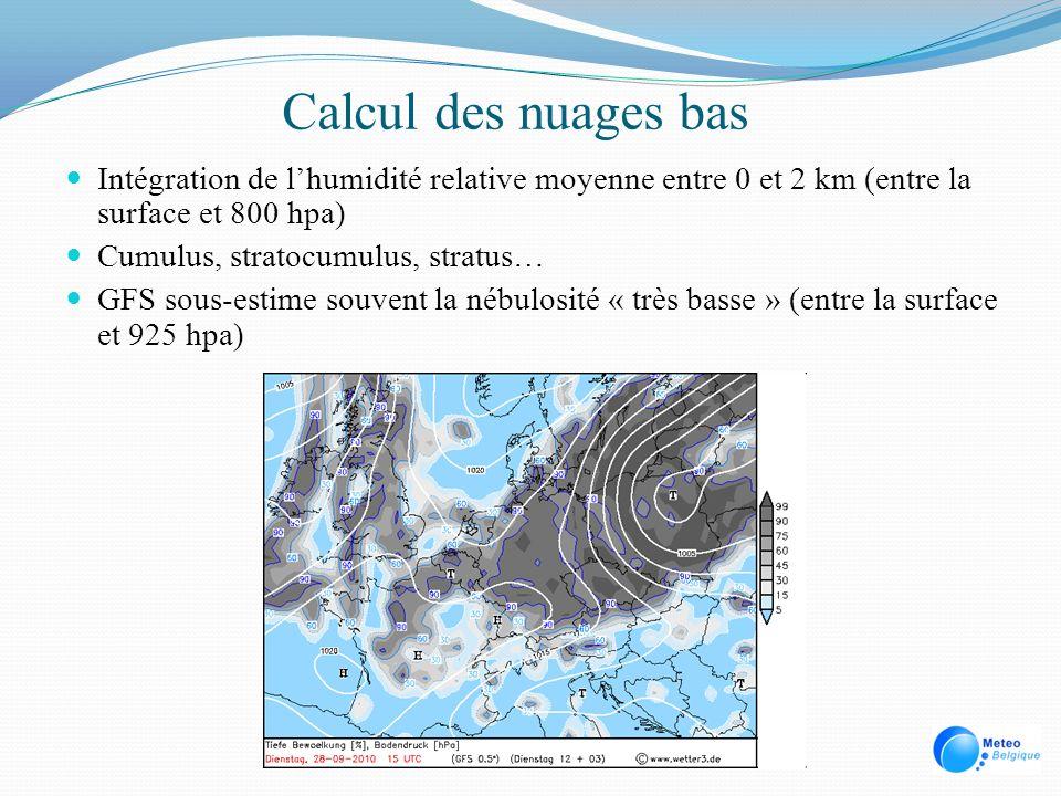 Calcul des nuages bas Intégration de l'humidité relative moyenne entre 0 et 2 km (entre la surface et 800 hpa)