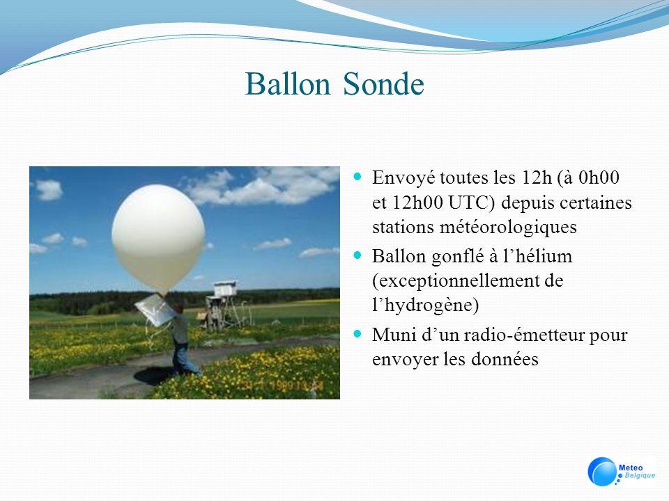 Ballon Sonde Envoyé toutes les 12h (à 0h00 et 12h00 UTC) depuis certaines stations météorologiques.