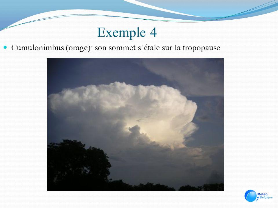 Exemple 4 Cumulonimbus (orage): son sommet s'étale sur la tropopause