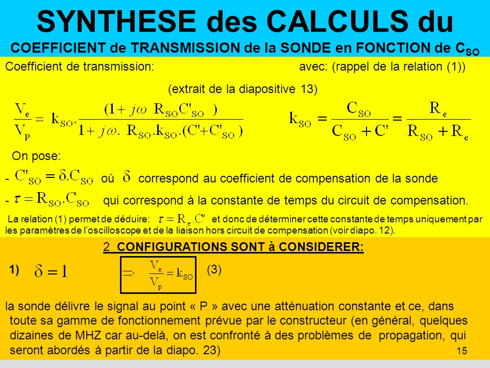 SYNTHESE des CALCULS du COEFFICIENT de TRANSMISSION de la SONDE en FONCTION de CSO