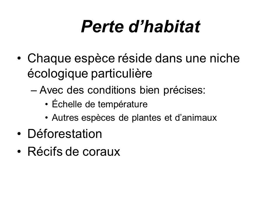 Perte d'habitat Chaque espèce réside dans une niche écologique particulière. Avec des conditions bien précises: