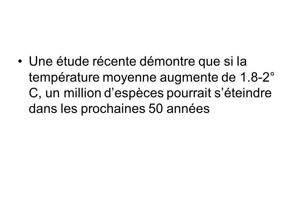 Une étude récente démontre que si la température moyenne augmente de 1