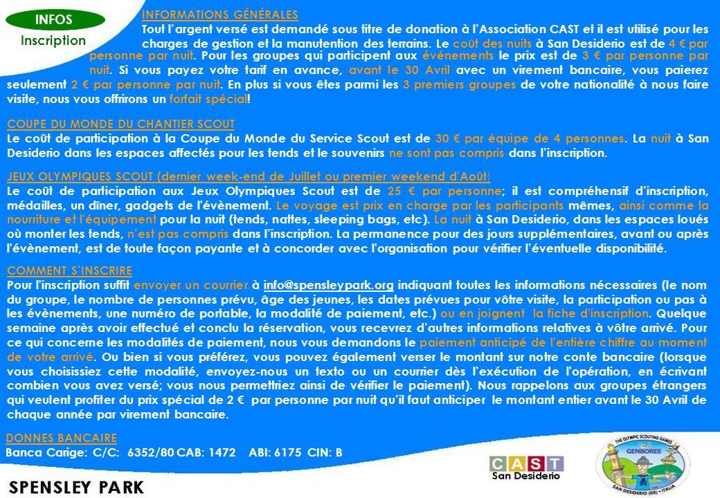 INFOS Inscription INFORMATIONS GÉNÉRALES