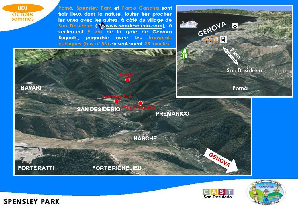 GENOVA LIEU Où nous sommes 9 km MONTE FASCE San Desiderio BAVARI Pomà
