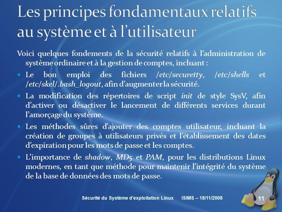 Les principes fondamentaux relatifs au système et à l'utilisateur