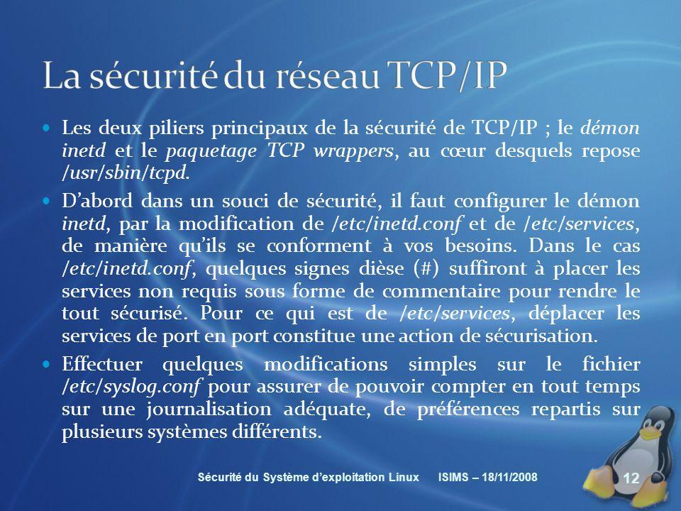 La sécurité du réseau TCP/IP