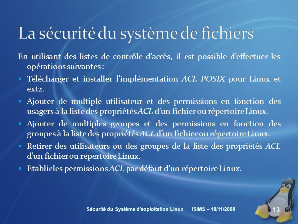 La sécurité du système de fichiers