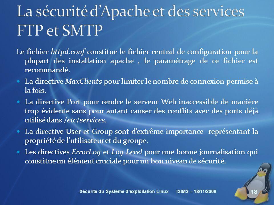 La sécurité d'Apache et des services FTP et SMTP