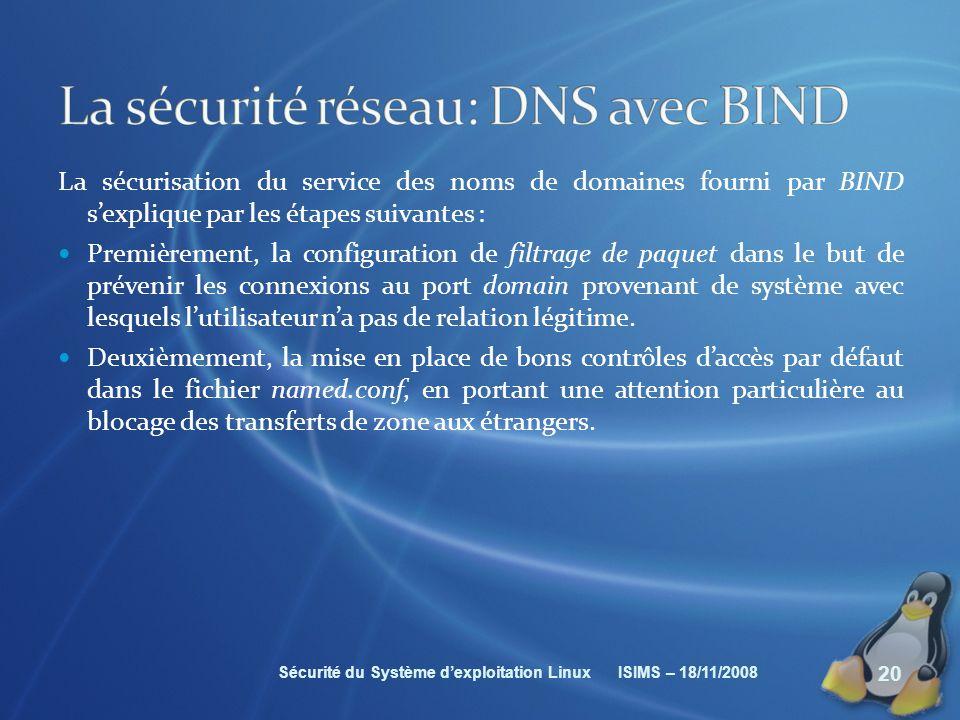 La sécurité réseau: DNS avec BIND