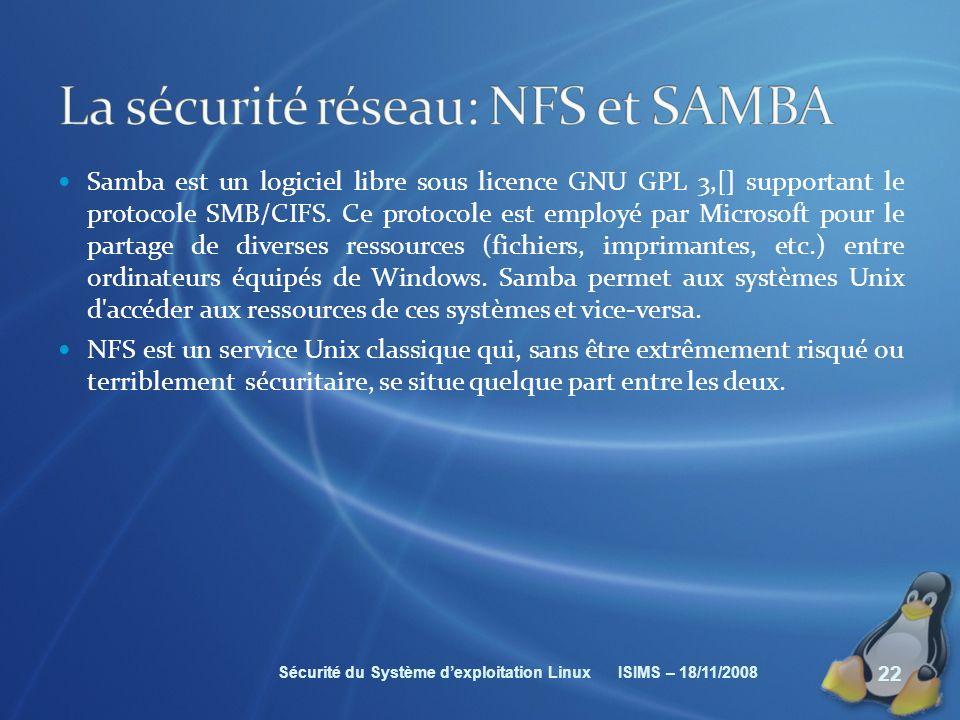 La sécurité réseau: NFS et SAMBA