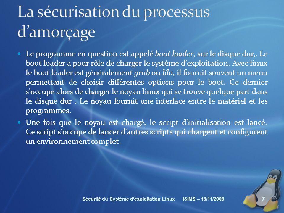La sécurisation du processus d'amorçage