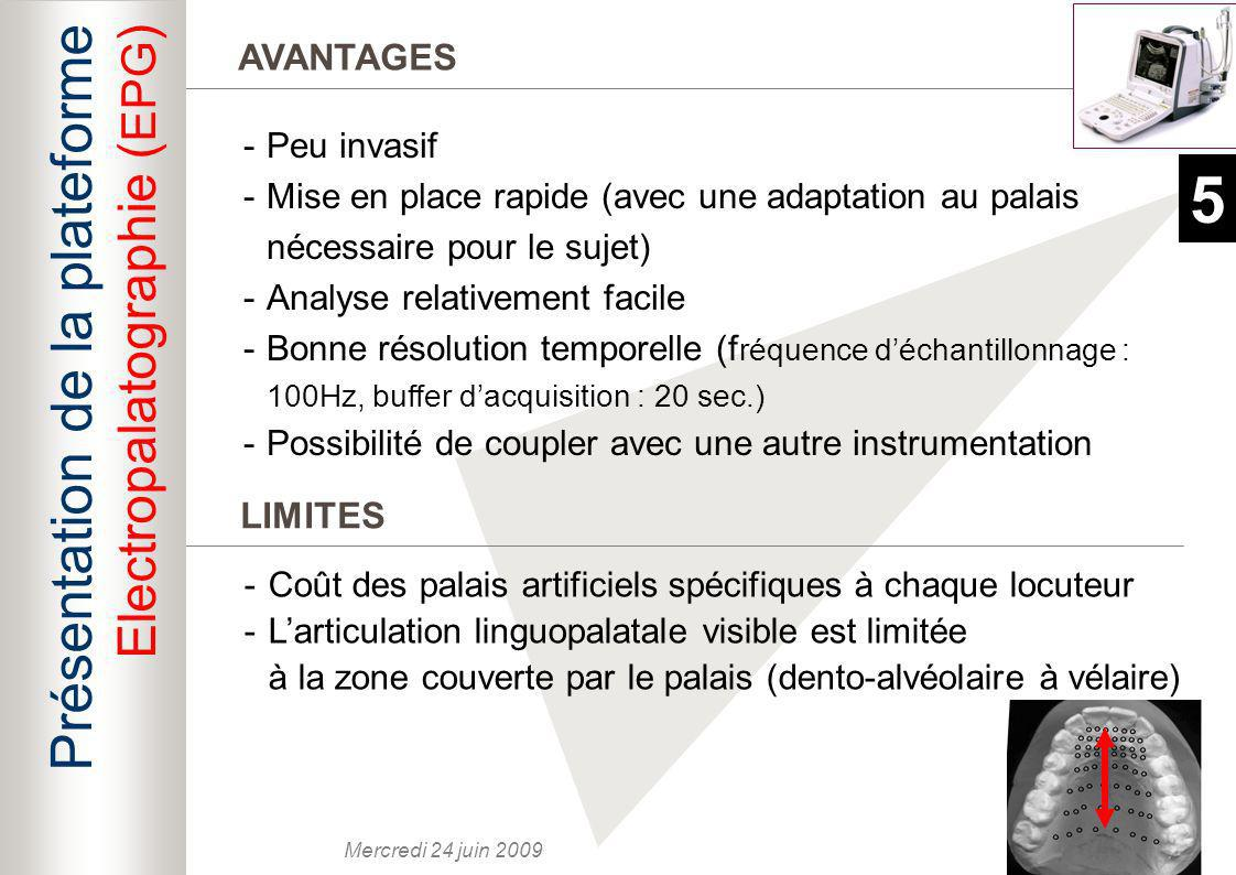 5 Présentation de la plateforme Electropalatographie (EPG) AVANTAGES