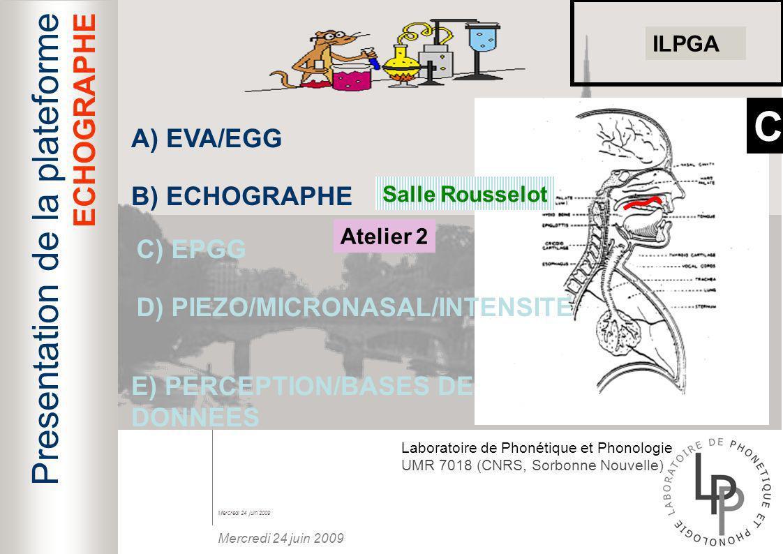 C Presentation de la plateforme ECHOGRAPHE A) EVA/EGG B) ECHOGRAPHE